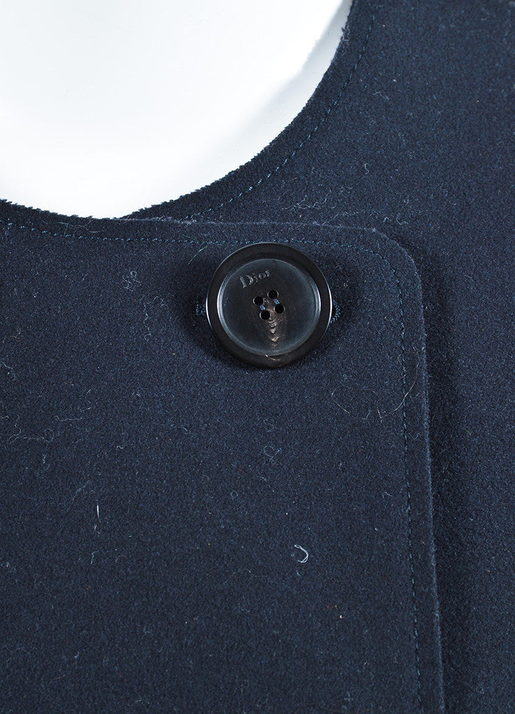 Christian Dior Navy Wool Exposed Seam Double Breasted Coat Detail