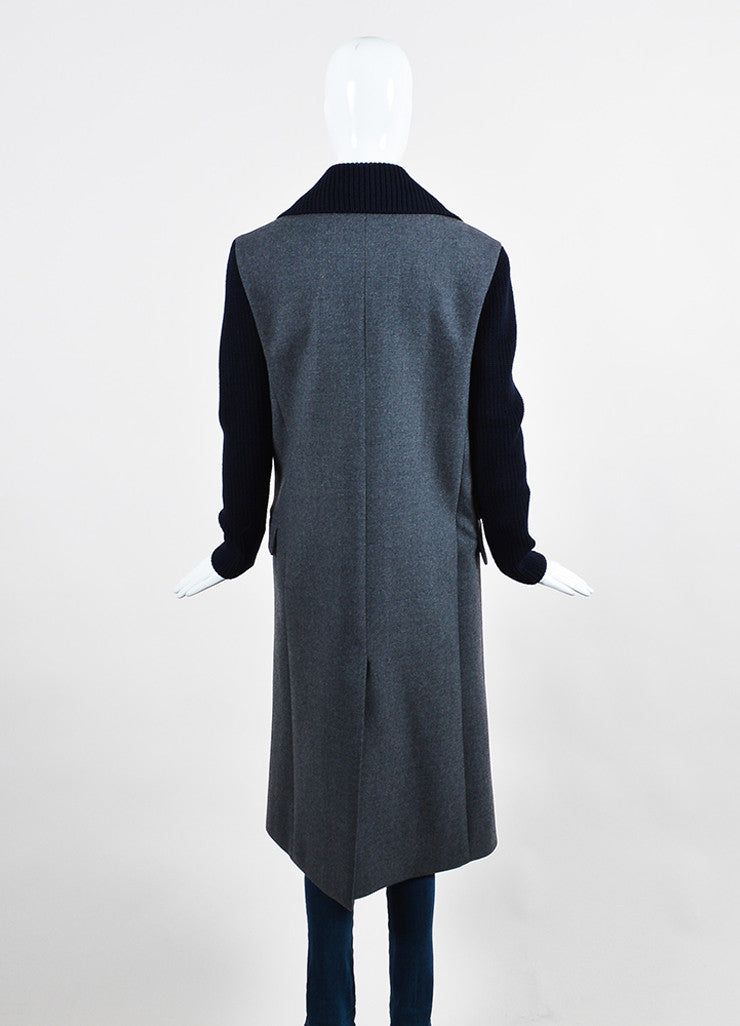 Grey Navy Christian Dior Chunky Knit Sleeves Peacoat Back