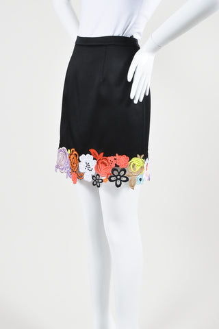 Black and Multicolor Christopher Kane Satin Floral Embroidered Skirt Sideview
