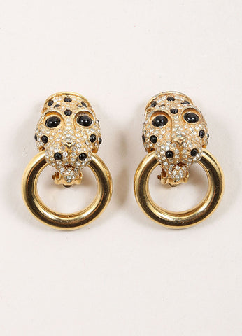 Ciner Gold Toned Rhinestone Embellished Panther Door Knocker Earrings Frontview