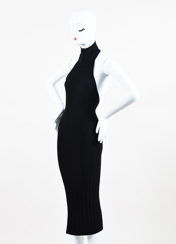 Cushnie et Ochs Black Textured Knit Turtleneck Halter Dress Sideview