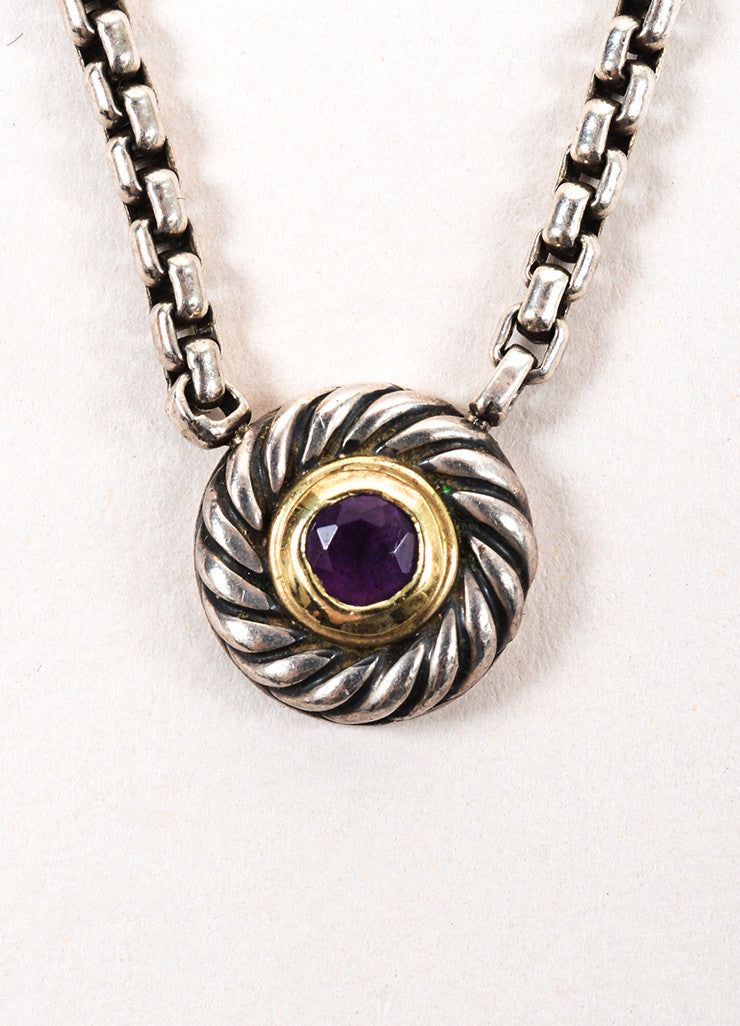 "David Yurman 14K Gold, Sterling Silver, and Amethyst ""Color Classic"" Pendant Necklace Detail 2"