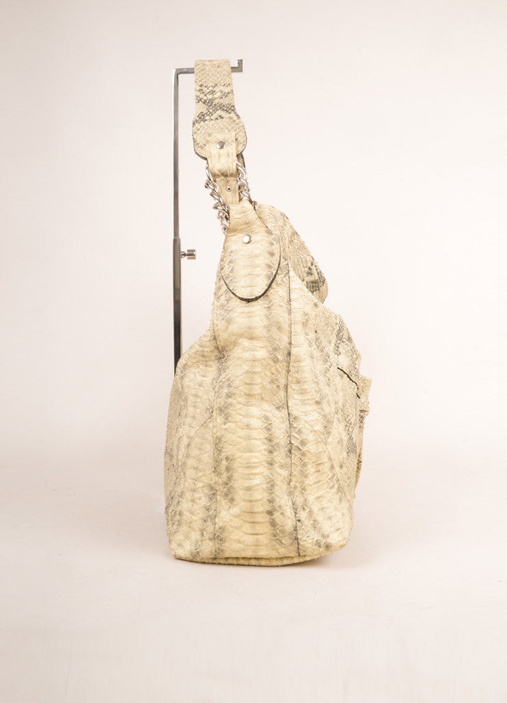 Diego Rocha Cream and Black Snakeskin Oversized Shoulder Tote Bag Sideview