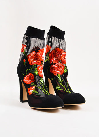 Dolce & Gabbana Black Red Mesh Rose Suede Heel Sock Booties  Frontview