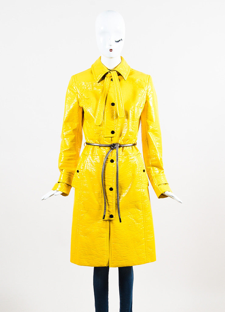 Dolce & Gabbana Yellow Coated Button Belted Trench Rain Coat Frontview