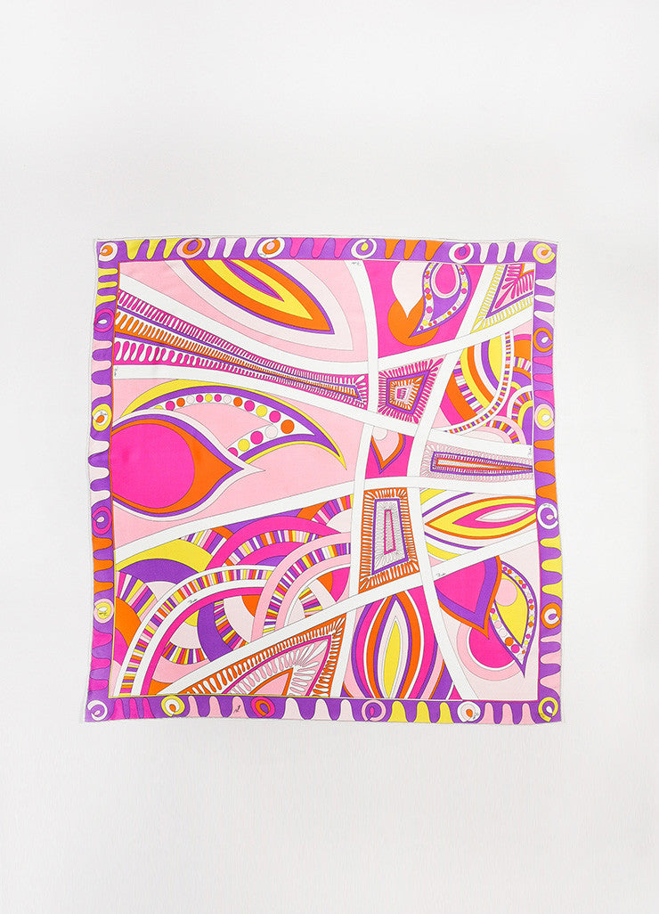 Emilio Pucci Multicolor Silk Crepe Printed Large Square Scarf Frontview 2