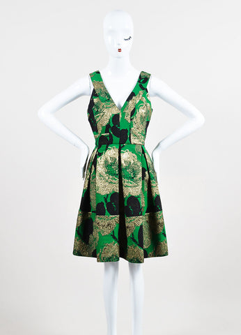 "Green, Black, and Gold Erdem Sleeveless Pleated ""Fabienne"" Dress Frontview"