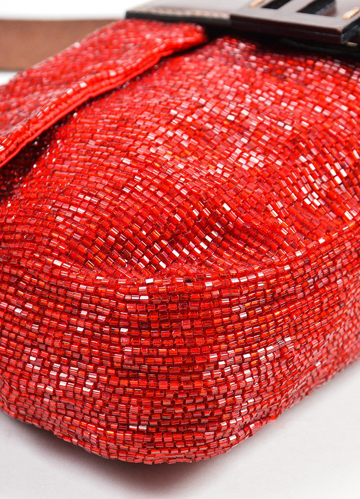 Red and Brown Fendi Beaded Logo Leather Strap Baguette Bag Detail