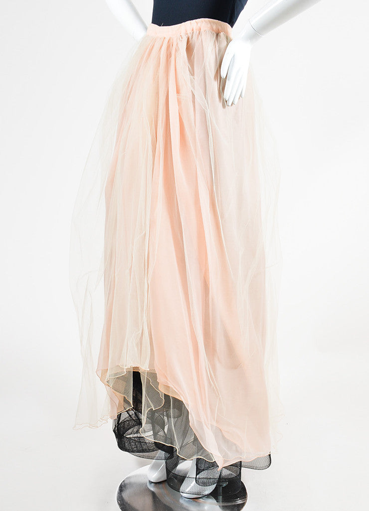 Dusty Pink Giorgio Armani Tulle Maxi Skirt Sideview