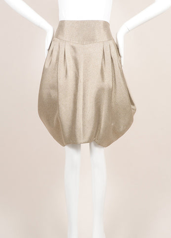 Giorgio Armani Gray Beige Metallic Structured Voluminous Pleated Skirt Frontview