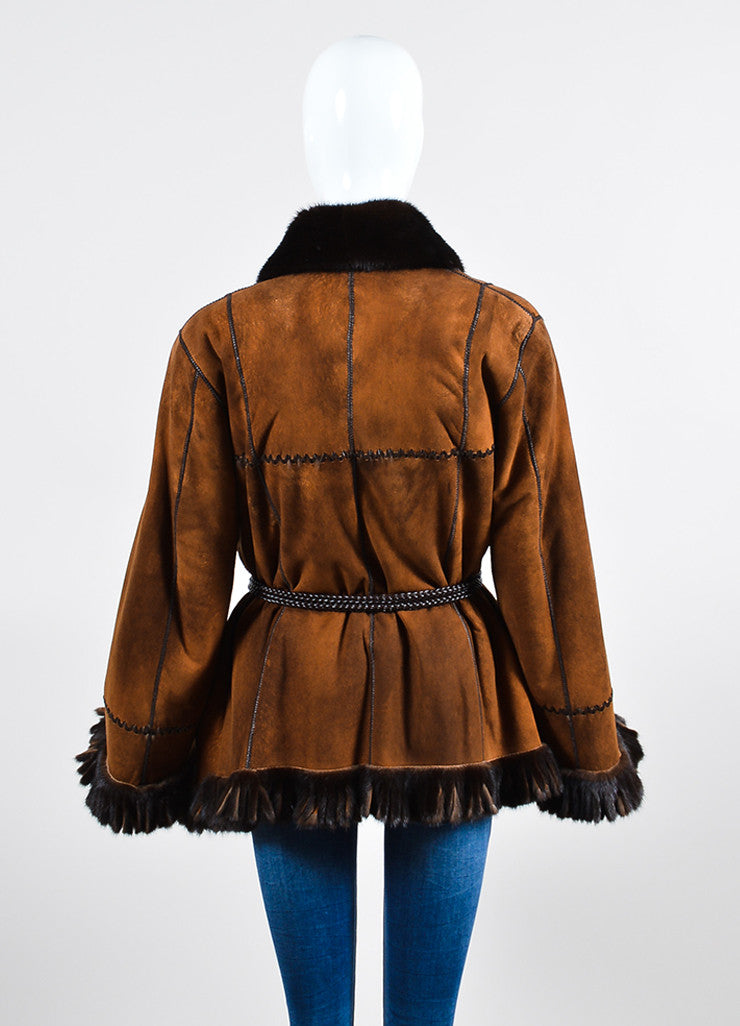 Giuliana Teso Brown Mink Fur Suede Fringe Belted Reversible Coat Backview 2