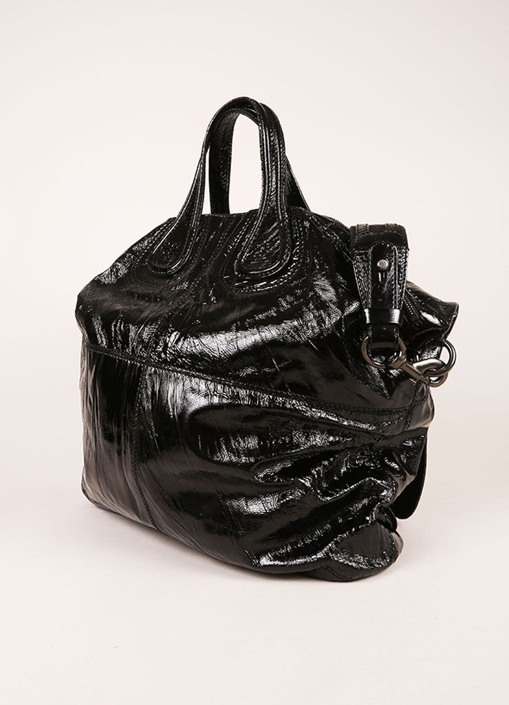 "Givenchy Black Crinkle Patent Leather Two Pocket ""Nightingale"" Tote Bag Sideview"