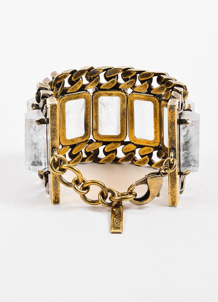 Givenchy Brass Toned Rock Crystal Chunky Curb Chain Link Wide Bracelet Backview