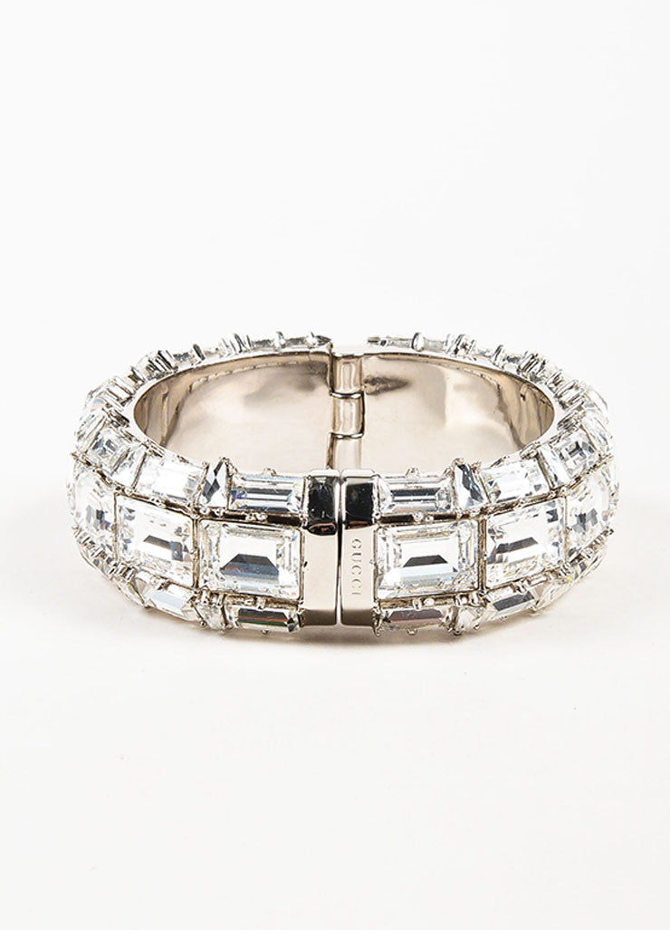 Gucci Silver Plated Swarovski Crystal Hinged Statement Bangle Bracelet Frontview