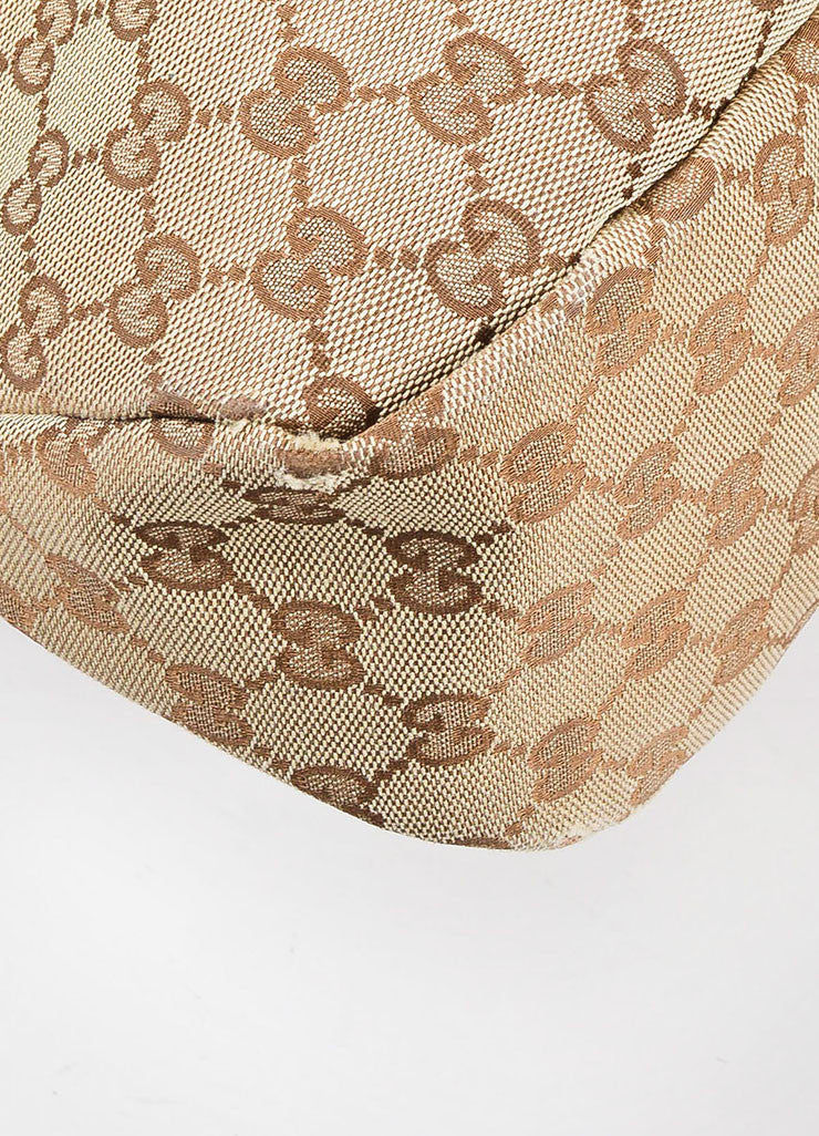Gucci Brown Monogram Canvas Large Horsebit Hobo Bag Detail