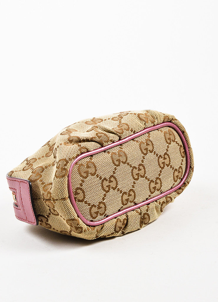 Gucci Tan, Brown, and Pink Canvas 'GG' Metallic Bow Heart Charm Zip Pouch Bottom View