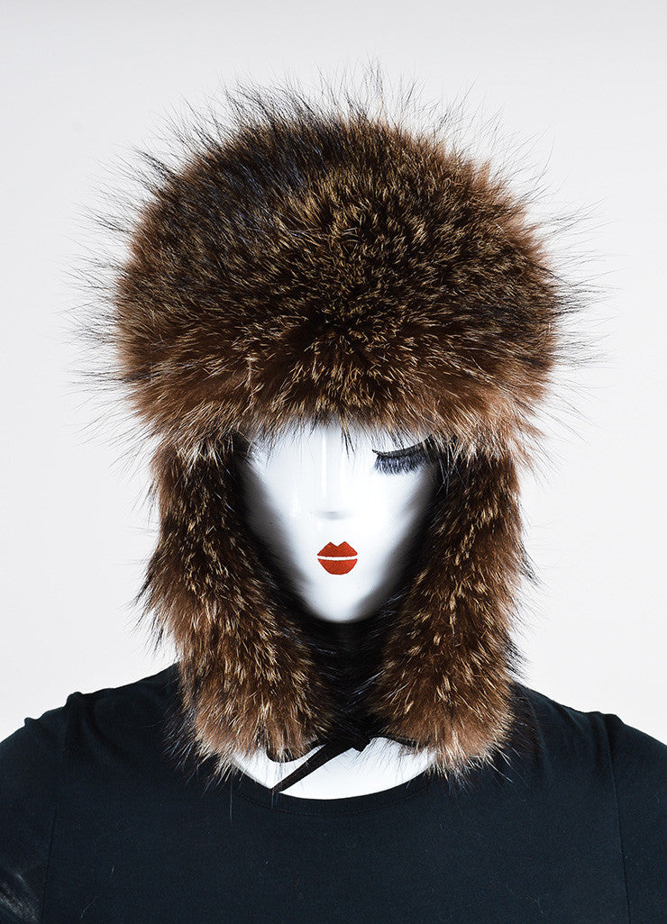Brown Hermes Leather and Raccoon Fur Trapper Hat Frontview