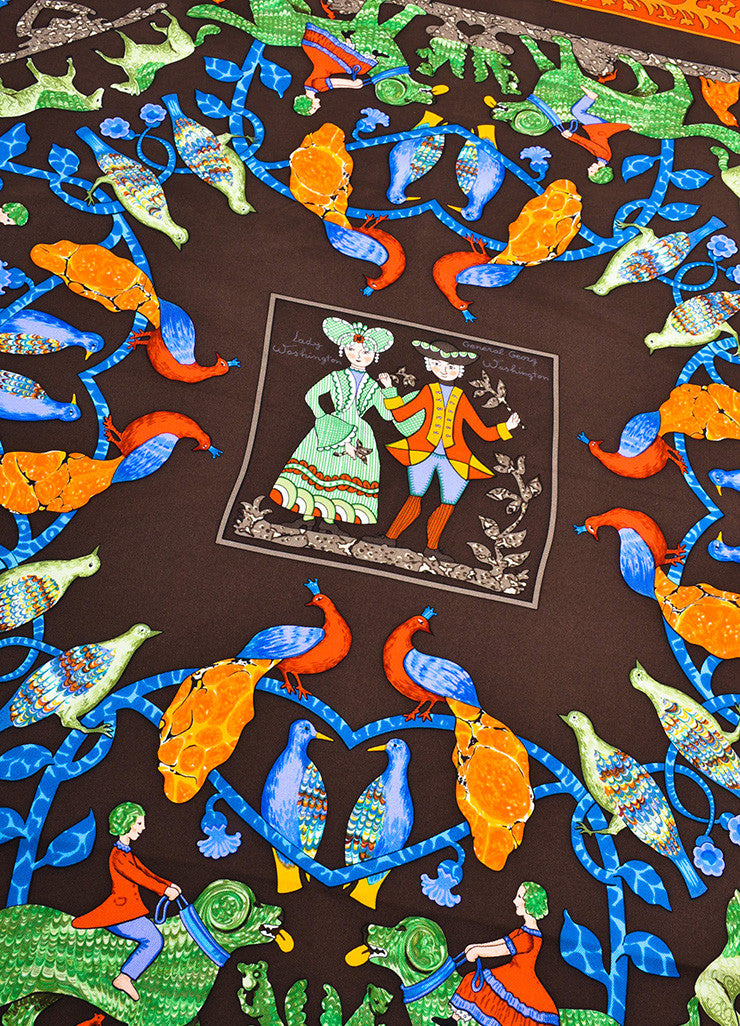 "Hermes Brown and Multicolor Silk Twill Graphic Printed ""Early America"" Scarf Detail"
