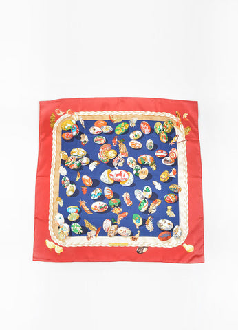 "Hermes Red, Navy and Multicolor Silk Twill Egg Print ""Couvee d'Hermes"" Scarf Front"