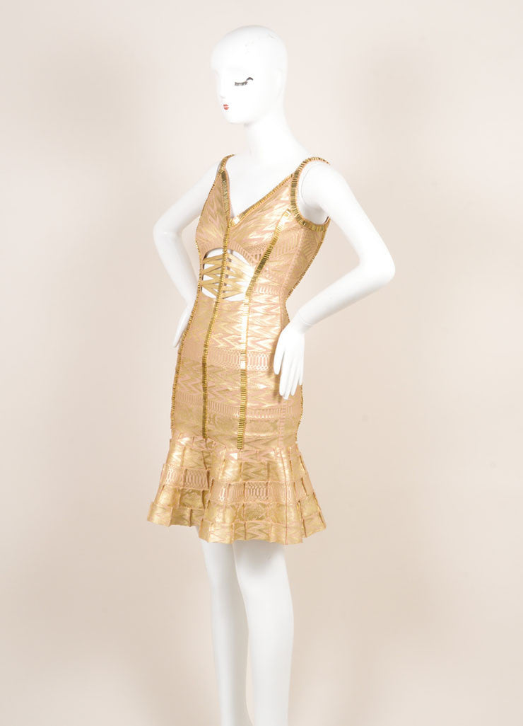 Herve Leger Gold Metallic Printed Beaded Cut Out Bodycon Dress Sideview