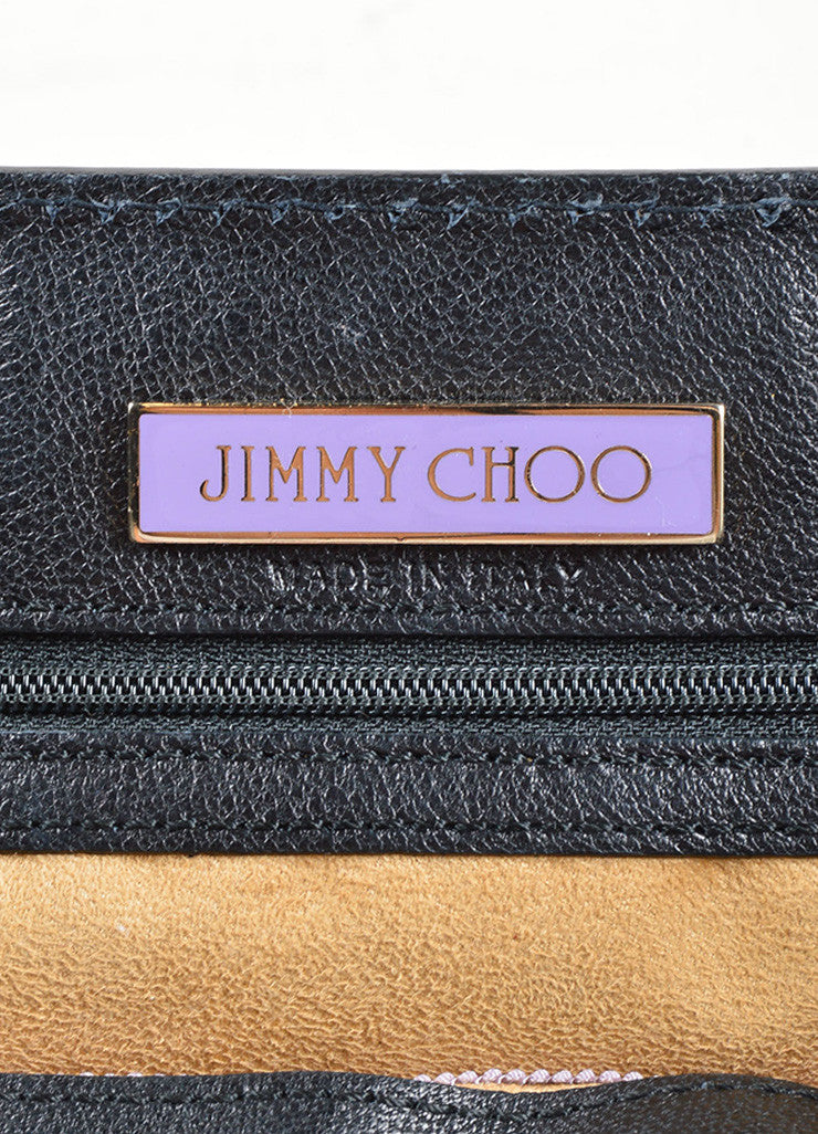 "Jimmy Choo Black Leather Chain Strap ""Thalma"" Shoulder Bag Brand"