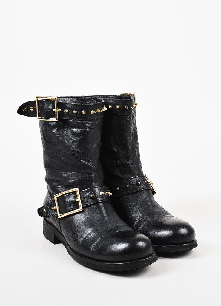 "Jimmy Choo Black Leather Studded Mid Calf ""Youth"" Moto Boots Front"