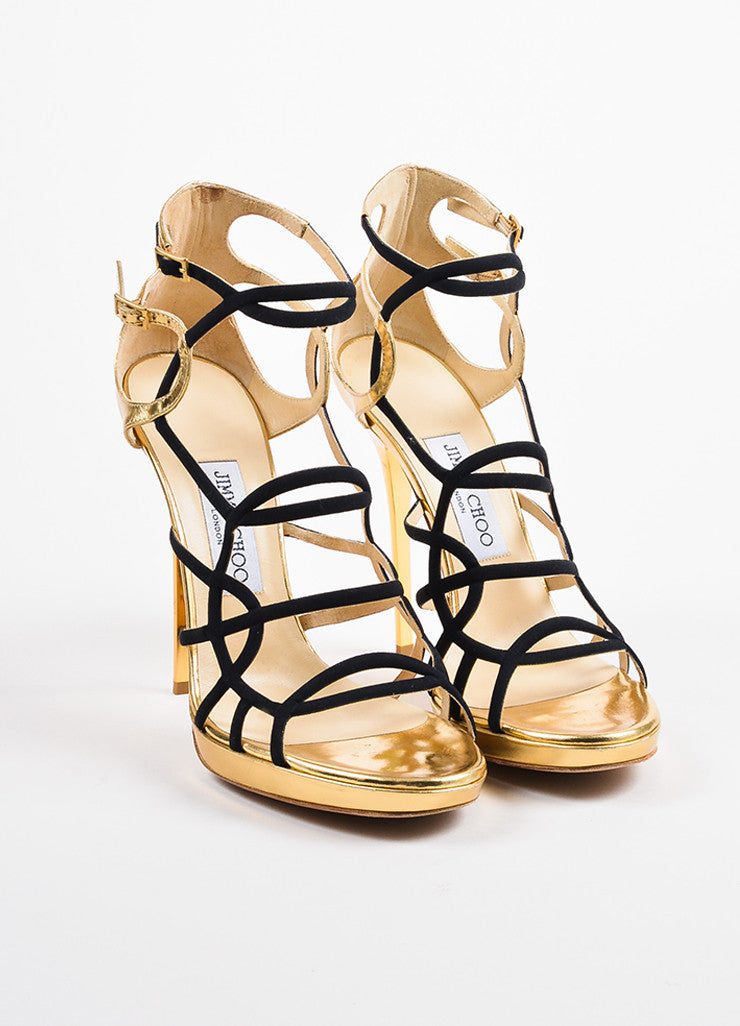 "Jimmy Choo Black and Gold Leather and Canvas ""Bunting"" Cage Sandal Heels Frontview"
