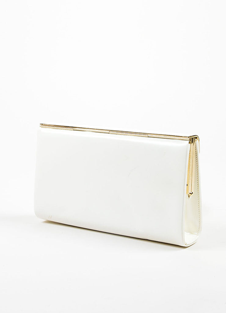 "Jimmy Choo White Patent Leather ""Cayla"" Clutch Bag Sideview"