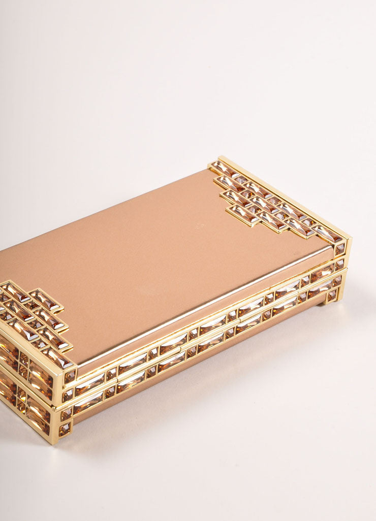 Judith Leiber Rose Gold Jewel Trim Rectangular Clutch Bag Bottom View