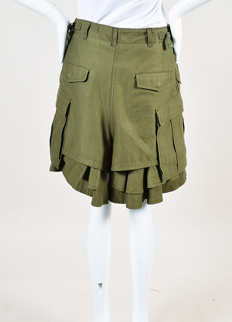 Junya Watanabe Comme des Garcons Olive Green Ruffle Leg Cargo Shorts Backview