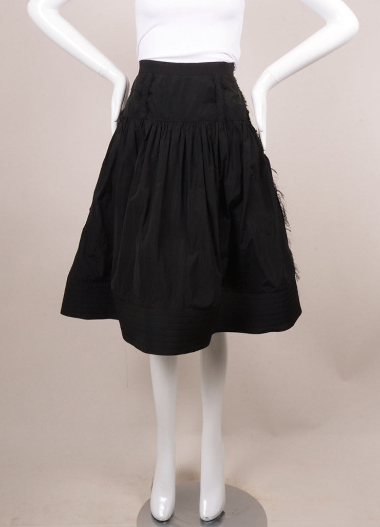 Lanvin Black Frayed Trim A-Line Skirt Frontview