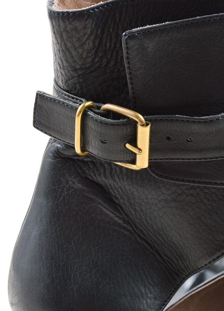 Lanvin Black Leather Cut Out Buckle Strap Ankle Platform Heeled Booties Detail