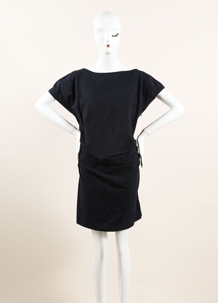 Lanvin Navy Blue Cotton Ruched Bow Back Short Sleeve Dress Frontview