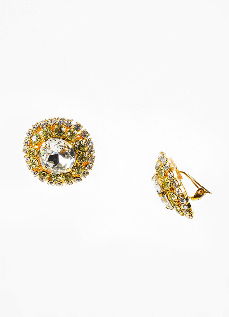 Lawrence Vrba Gold Toned, Clear, and Green Rhinestone Circular Clip-On Earrings Sideview