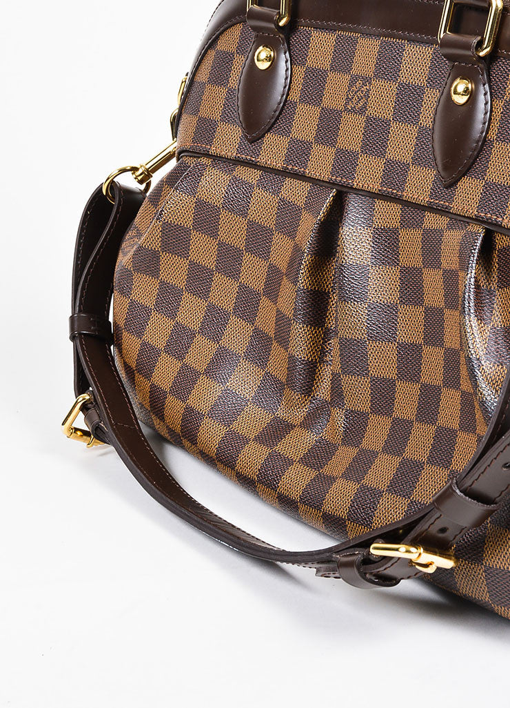 "Brown Louis Vuitton Coated Canvas and Leather ""Damier Trevi PM"" Satchel Bag Detail 2"