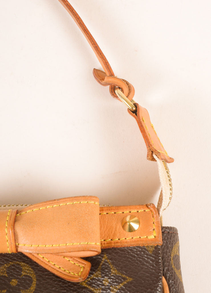 Louis Vuitton Brown and Pink Cherry Blossom Monogram Canvas Bow and Stud Pochette Bag Detail 2