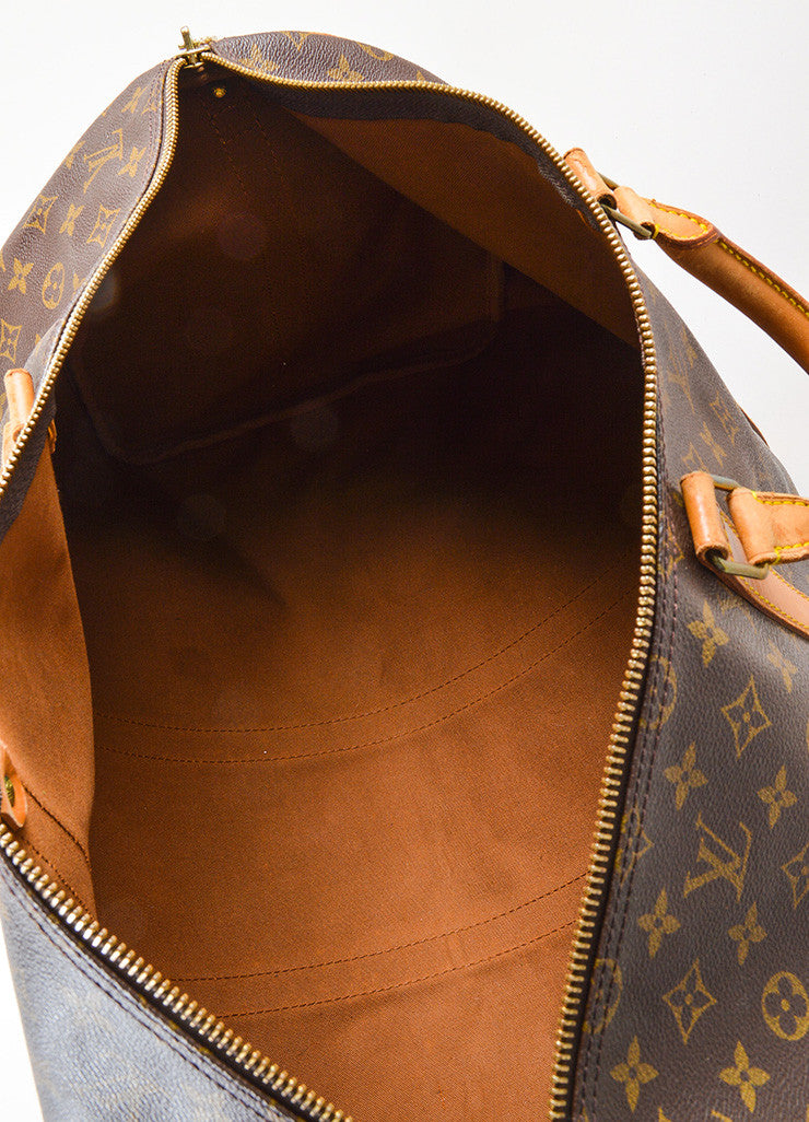 "Louis Vuitton Brown Canvas and Leather Monogram ""Keepall 55 Bandouliere"" Bag Interior"