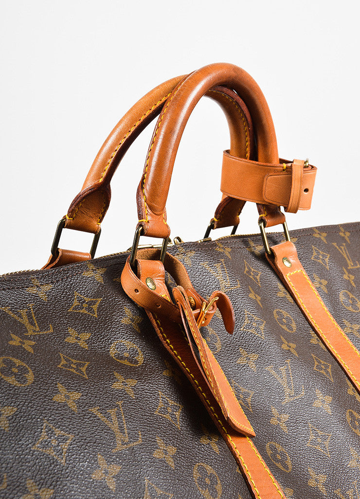 "Louis Vuitton Brown and Tan Monogram Leather ""Keepall 60"" Bag Detail 2"