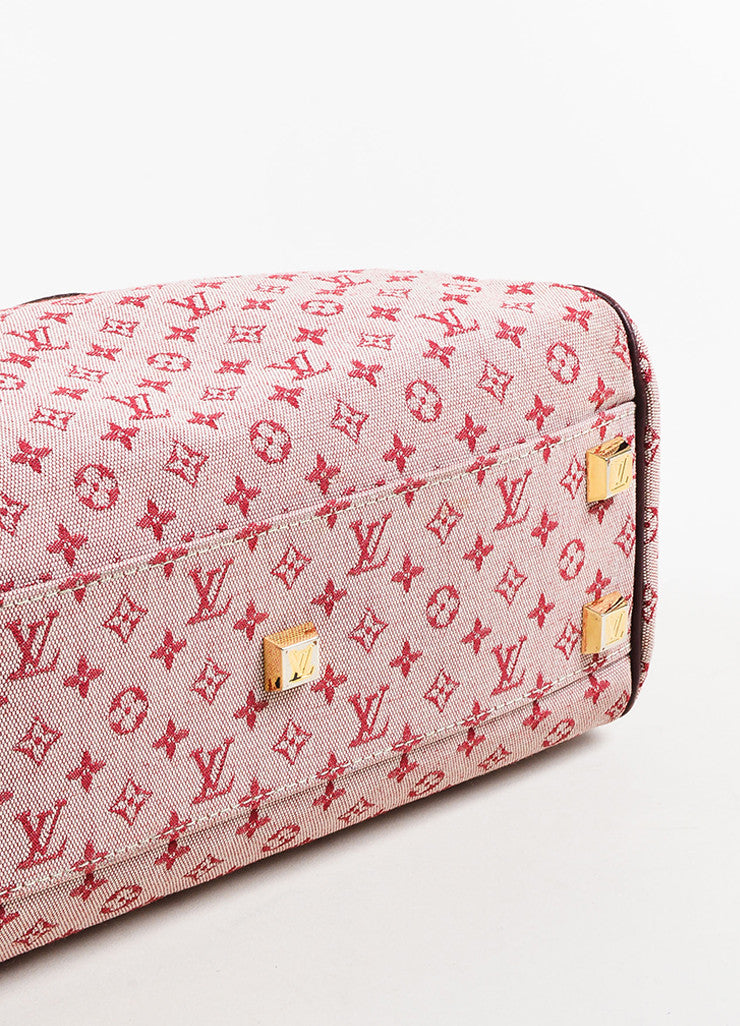 "Louis Vuitton Deep Pink and Brown Monogram Mini Lin ""Josephine PM"" Satchel Bag Bottom View"