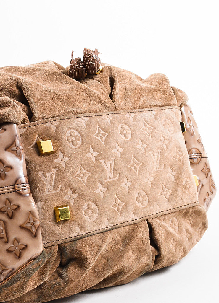 "Louis Vuitton Taupe Brown Suede Patent Vernis Leather ""Irene Coco"" Hobo Bag Bottom View"