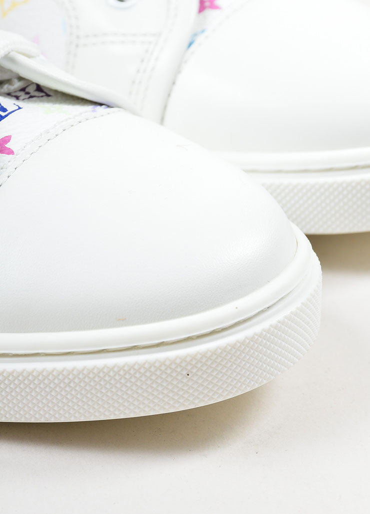 White and Multicolor Louis Vuitton Canvas and Leather Monogram Sneakers Detail