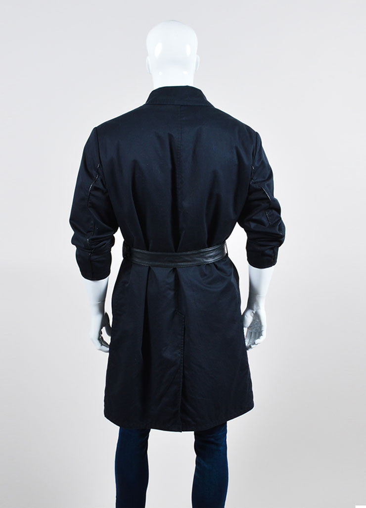 Men's Brioni Black and Navy Twill Wool Leather Reversible Belted Trench Coat Backview