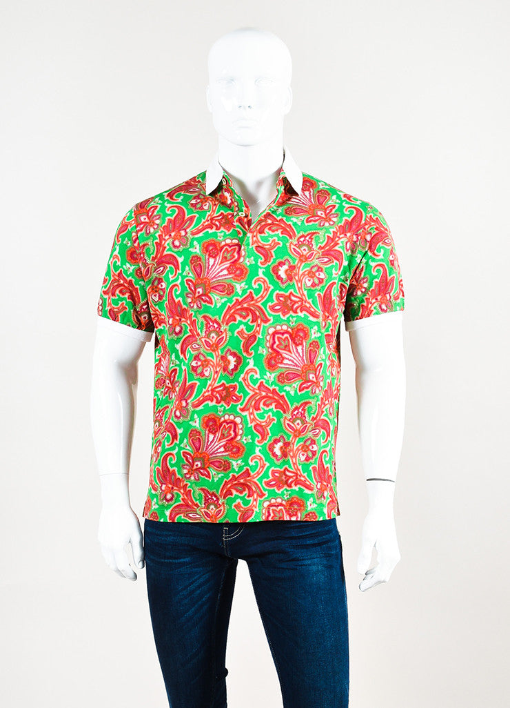 Men's Etro Red Green Paisley Print Short Sleeve Polo Shirt Front