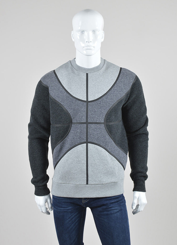 Men's Grey Givenchy Wool Color Block Basketball Sweatshirt Front