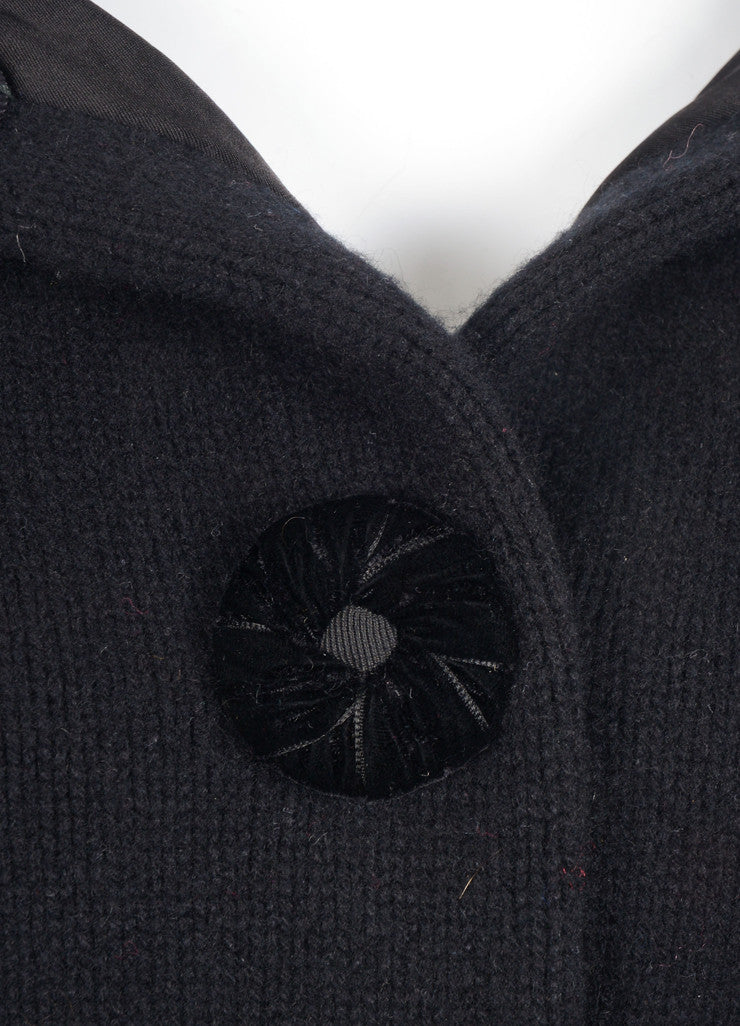 Marc Jacobs Black Cropped Wool and Cashmere Knit Buttoned Sweater Jacket Detail