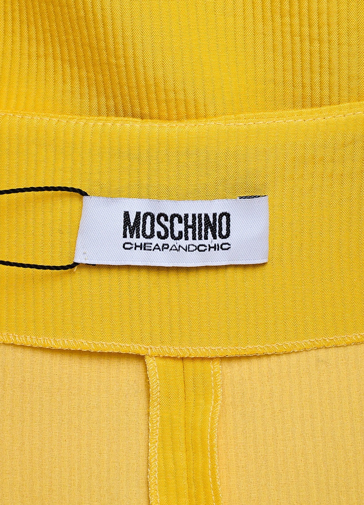 Yellow Moschino Cheap and Chic Cotton Blend Pleated Sleeveless Dress Brand