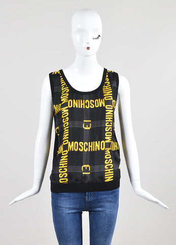 Black and Yellow Moschino Couture Wool and Silk Logo Belt Sweater Vest Frontview