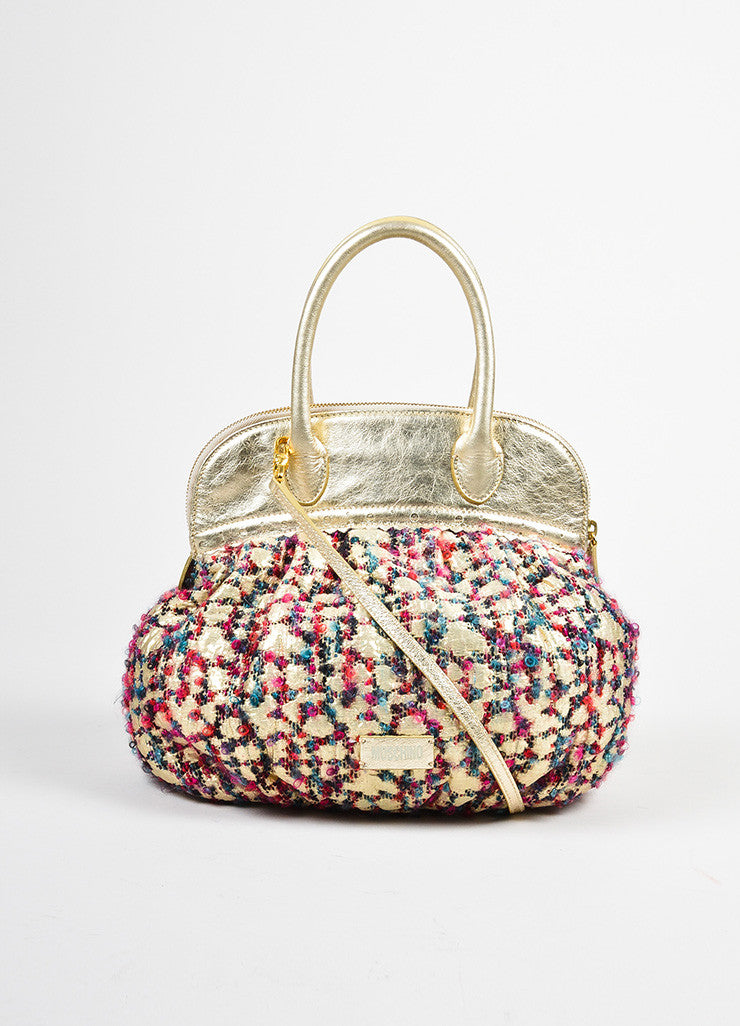 Moschino Gold Metallic Leather and Multicolor Tweed Small Satchel Bag Frontview