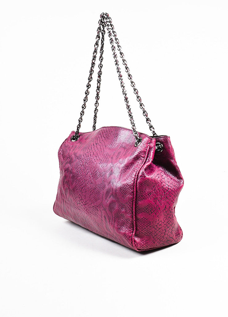 "Mulberry ""English Plum"" Leather Snake Embossed Chain Strap ""Cory"" Tote Bag Sideview"