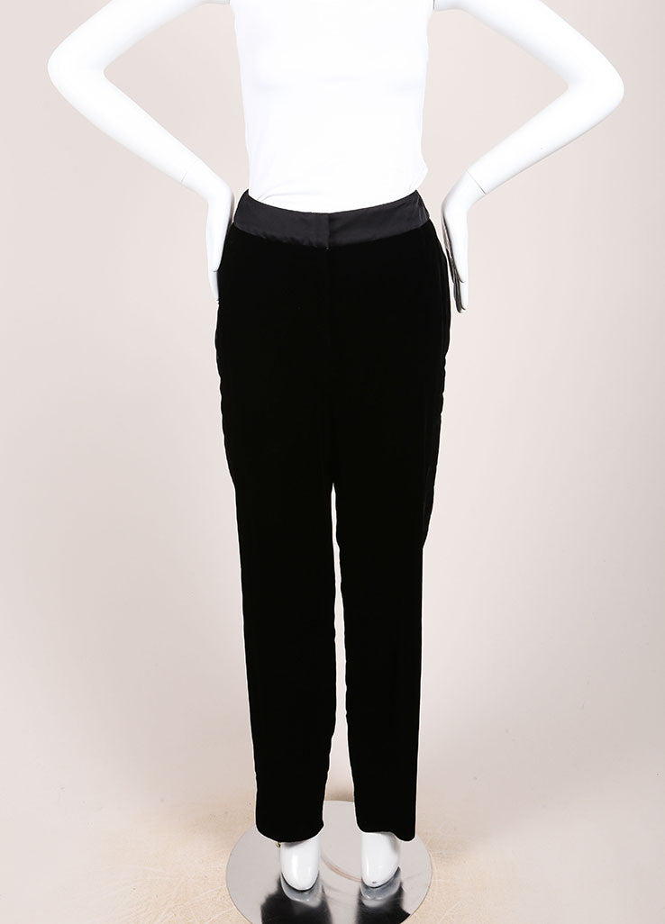 Oscar de la Renta New With Tags Black Velvet Tuxedo Pants Frontview